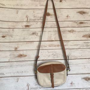 Fossil • cream tan leather crossbody purse bag